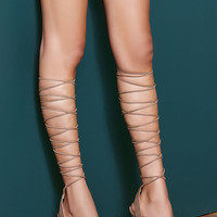 Amped Up Taupe Suede Lace-Up Heels