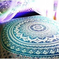 Ombre Large Mandala Indian Blue Tapestry Hippie Wall Hanging Dorm Decor