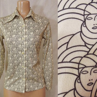 Vintage 70s Women's Disco Shirt | 1970s Art Deco Novelty Print Shirt | Biba Inspired Psychedelic Ladies Face Print Blouse | Butterfly Collar