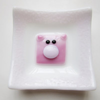 Pig Lover Trinket Dish, Fused Glass Dish, Glass Piglet, Pink Piggy, Animal Lover Catchall Dish, Catch All Tray, Childrens Room Decor