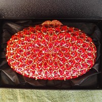 Oval Rhinestone Minaudiere Wedding Clutch