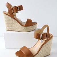 Santorini Cognac Leather Espadrille Wedges