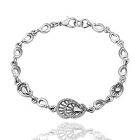 Peacock Tail White Gold Plated Bracelet