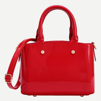 Faux Patent Leather Tote Bag With Strap - Red