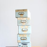 Vintage Library Card Catalog Wooden Drawer