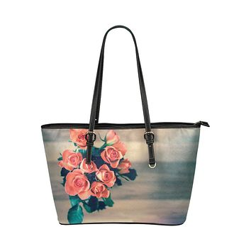 Tote Shoulder Bag with Bouquet of Peach Roses Design