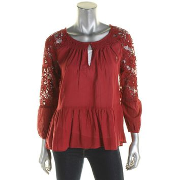 Sanctuary Womens Gwen Boho Smocked Peasant Top Red M