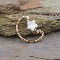 Crescent Moon and Star Rose Gold Daith Rook Cartilage Hoop