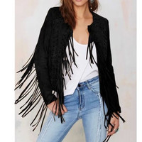 Faux Leather Long-Sleeve Tassel Jacket