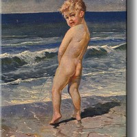 Boy Urinating Into the Sea Painting Bathroom Picture on Acrylic , Wall Art Decor Ready to Hang!.