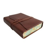 Cavallini Roma Lussa Leather Journal, 5x7 inch, Hand Made in Italy, Chocolate