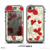 The Light Tan With Red Accented Flower Petals Skin for the iPhone 5c nüüd LifeProof Case