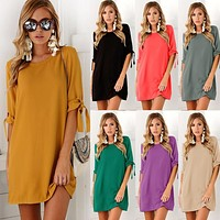 2018 New Summer Fashion Women Clothes Casual Short Sleeve O-Neck Yellow Purple Green Dresses Loose Plus Size Long T Shirts Dress