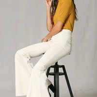 Inside Story Cream Denim High Waist Bell Bottom Flare Leg Jean Pants - Sold Out