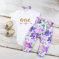 Baby Girls 1st Birthday Outfit | Purple Flower High Waisted Pants Outfit and Knotted Headband | Gold Arrow w/ Purple Heart