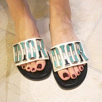 Dior CD new casual flip flops ladies beach sandals and slippers metal letter LOGO flat slippers
