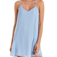 Lace-Back Chiffon Shift Dress by Charlotte Russe