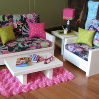 """18"""" Doll Furniture - American Girl sized Living Room - Loveseat / Chair / Coffee Table / End Table / Lamp / Rug - MAY 2014 SHIPPING ONLY"""