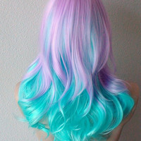 Halloween Special // Lavender Mint blue color wig. Medium length curly hair long side bangs purple blue Ombre colored Cosplay/ Daily wig.