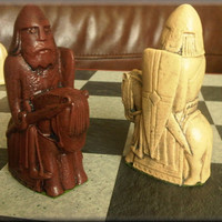 Authentic Isle of Lewis Chess Set plus Two Extra Queens - Deep Walnut and Mellow Ivory