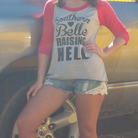 Southern Belle Raising Hell Raglan Top: Red