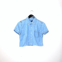 light wash denim blouse 90s GAP minimalist button up UPCYCLED cropped jean shirt chambray crop top small