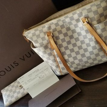 100% Authentic Louis Vuitton Totally PM Damier Azur Handbag and Wallet