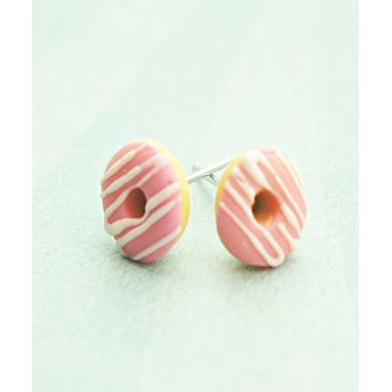 Strawberry Donuts w/ White Chocolate Drizzle Stud Earrings