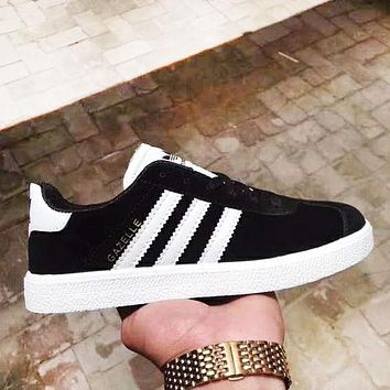 Adidas New fashion leather couple running shoes Black