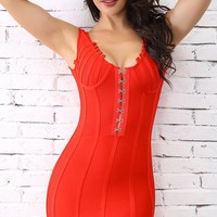 Steaming Hot Red Sleeveless Scoop Neck Boned Hook And Eye Bodycon Bandage Mini Dress