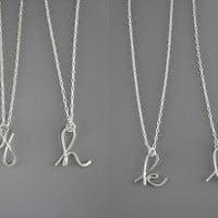 Cursive Initial Necklace - silver personalized lower case letter, small delicate silver plated chain, alphabet charm pendant, custom