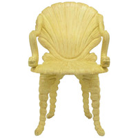 Maitland Smith Carved Wood Grotto Chair with Dolphin Arms