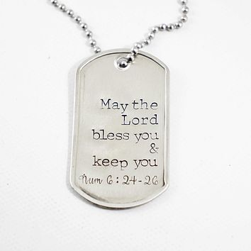 """May the Lord bless you and keep you"" Numbers 6:24-26 Dog Tag Necklace - READY TO SHIP"