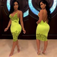 Women Sexy Neon Money Print Spaghetti Strap Bandage Dress