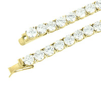 Tennis Necklace 1 Row Gold Over Stainless Steel 6 MM Lab Diamonds 10 Carat Look