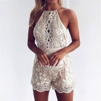 Fashion Embroidery Lace Backless Hollow Romper Jumpsuit