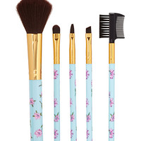 FOREVER 21 Floral Cosmetic Brush Set Mint/Pink One