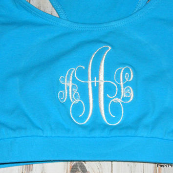 Monogrammed Sports Bra, Monogram Sports Bra, Personalized workout wear, Monogram sports bra