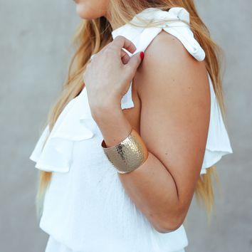 Count On Me Gold Cuff Bracelet