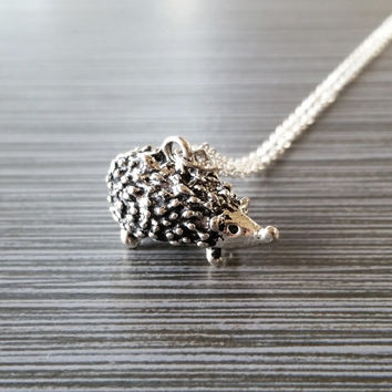 Silver Hedgehog Necklace - Hedgehog Charm Pendant - Personalized Necklace - Custom Gift - Initial Necklace - Animal Necklace - Daughter Gift