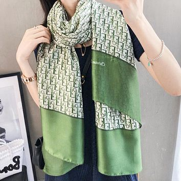 Dior Fashion New More Letter Print Leisure Scarf Green