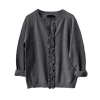 Gil & Jas Charcoal Heather Ruffle Cardigan - Only size 6 left - FINAL SALE