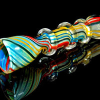 Rainbow Bats Glass Chillum Smoking Pipe Colorful Stripes Fumed Color Changing Discreet Hitter Smoking Piece
