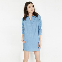 Washed Blue Collared Mini Dress with Hidden Coin Pocket