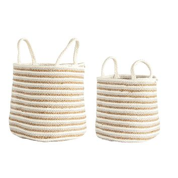 Braided Cotton & Jute Baskets with Beige & Gold Stripes & Handles (Set of 2 Sizes)