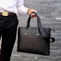 MONT BLANC MEN LEATHER BRIEFCASE INCLINED SHOULDER BAG