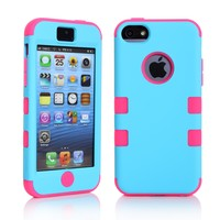MagicSky Plastic + Silicone Tuff Dual Layer Hybrid Case for Apple iPhone 5C - 1 Pack - Retail Packaging - Hot Pink/Blue