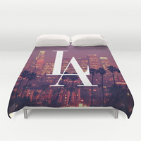 Downtown LA Vintage Skyline Typography Duvet Cover by RexLambo