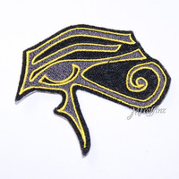 Eye of Ra Horus Gold Black Iron On Embroidery Patch MTCoffinz