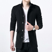 Men Trench Men Jackets Slim Fits Long Casual Coats Men's Thick Outwears Plus Size Quality BL